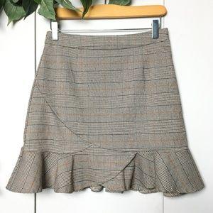 2/$35🌿 SZE.STU Brown Plaid Peplum Mini Skirt